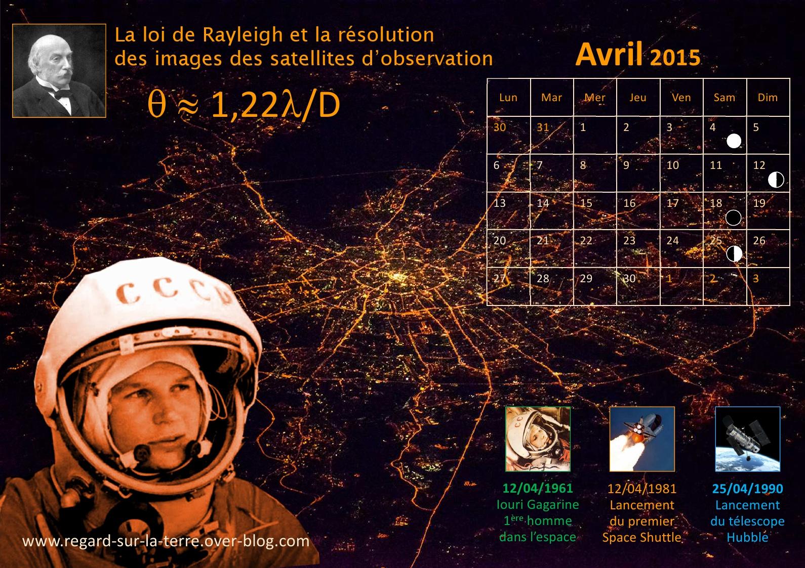 Calendrier spatial et astronomique - Avril 2015 - Gagarine - Rayleigh - Space Shuttle - 25 ans d'Hubble - Pouvoir séparateur des instruments d'observation - Résolution des satellites