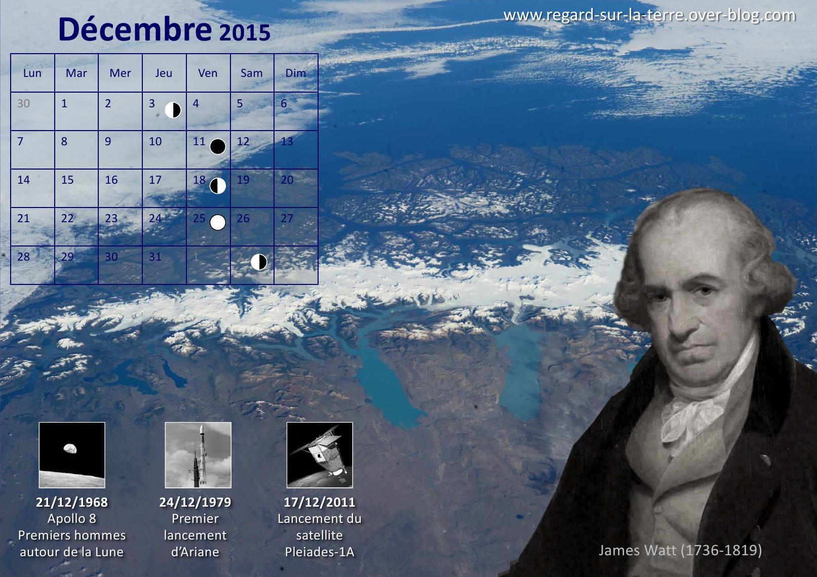 Calendrier spatial - Décembre - 2015 - bilan des lancements - Ariane - Apollo 8 - Pléiades - Patagonie - ISS