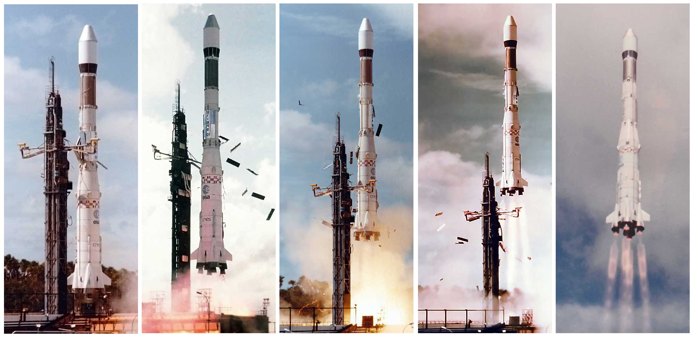 Ariane - Premier lancement - L01 - 24 décembre 1979 - Premières secondes de vol - Centre Spatial Guyanais - Kourou - CNES