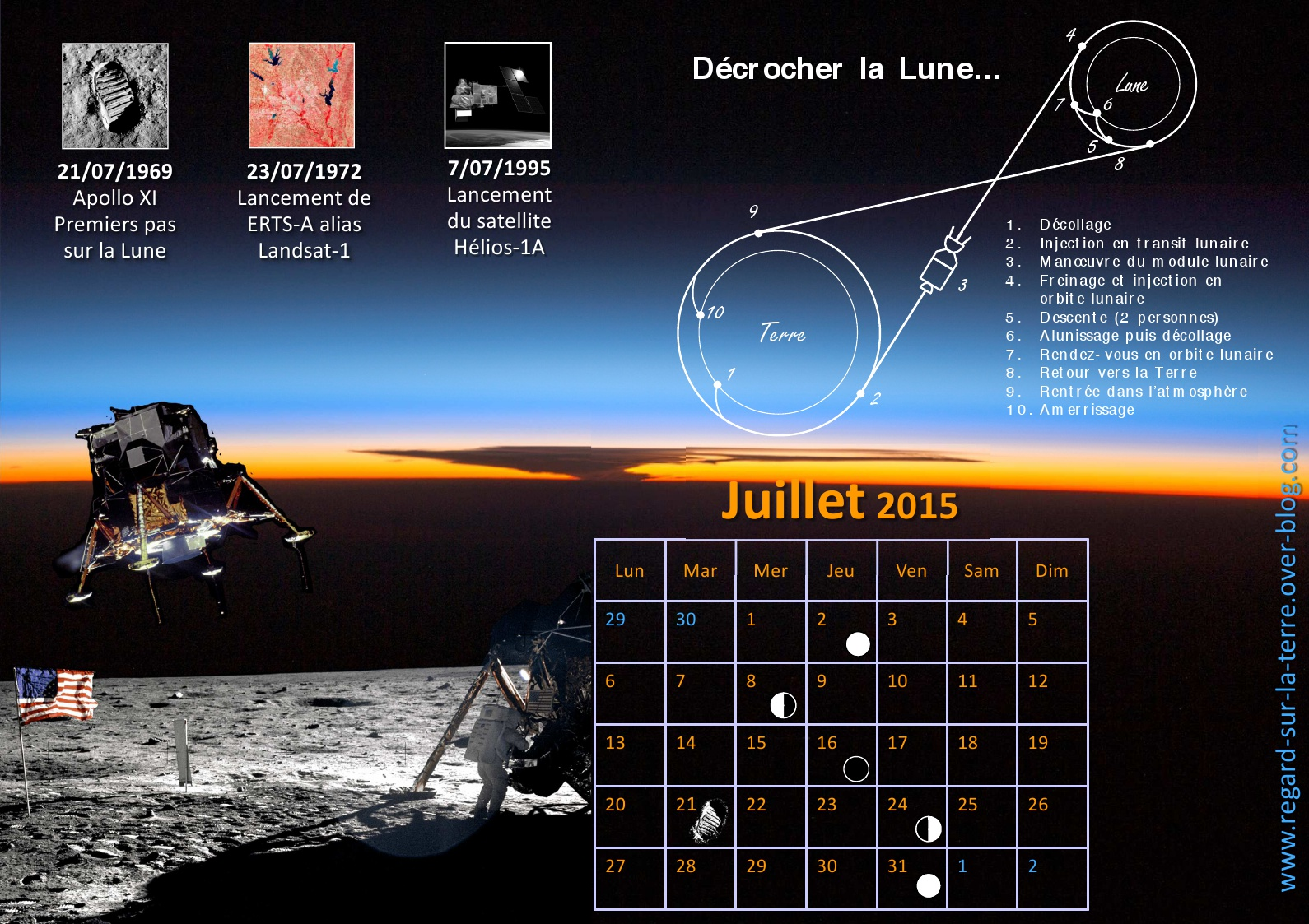 Apollo 11 - Lune - Premiers pas sur la Lune - Man on the Moon - calendrier - NASA