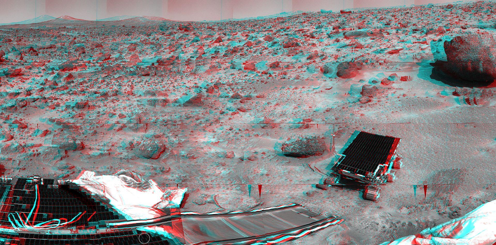 Pathfinder - Sojourner - Mars - Panorama - Anaglyphe - 3D - stéréo - NASA
