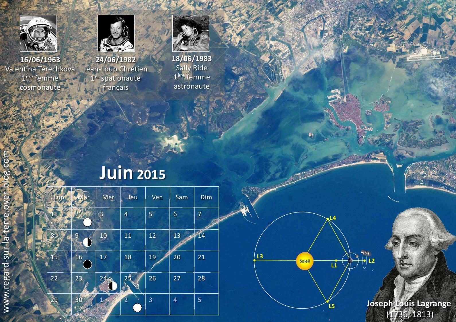 Calendrier spatial et astronomique - Juin 2015 - Valentina Terechkova - Jean-Loup Chrétien - Sally Ride - Shuttle MIR - Venise - ISS