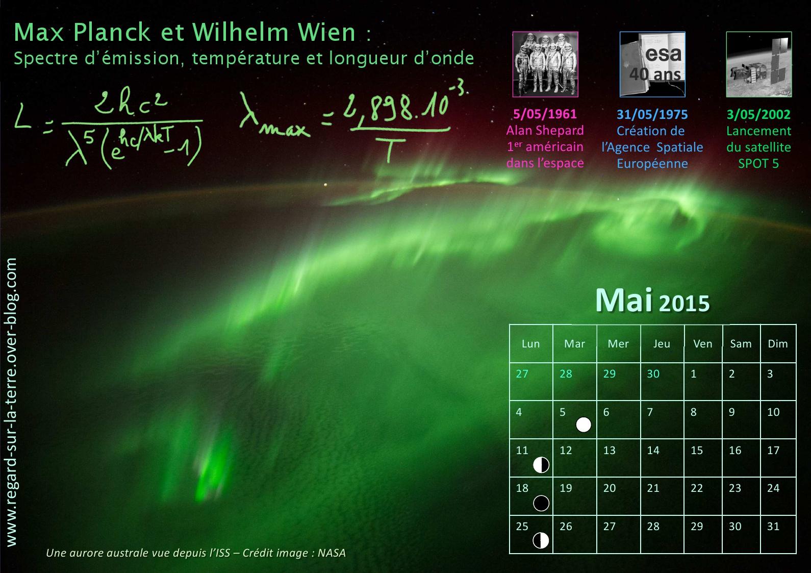 Calendrier spatial et astronomique - Mai - Aurore boréale - Aurore australe - ISS - Corps noir - Loi de Planck - Loi de déplacement de Vite - Alexander Gerst - Magnétosphère