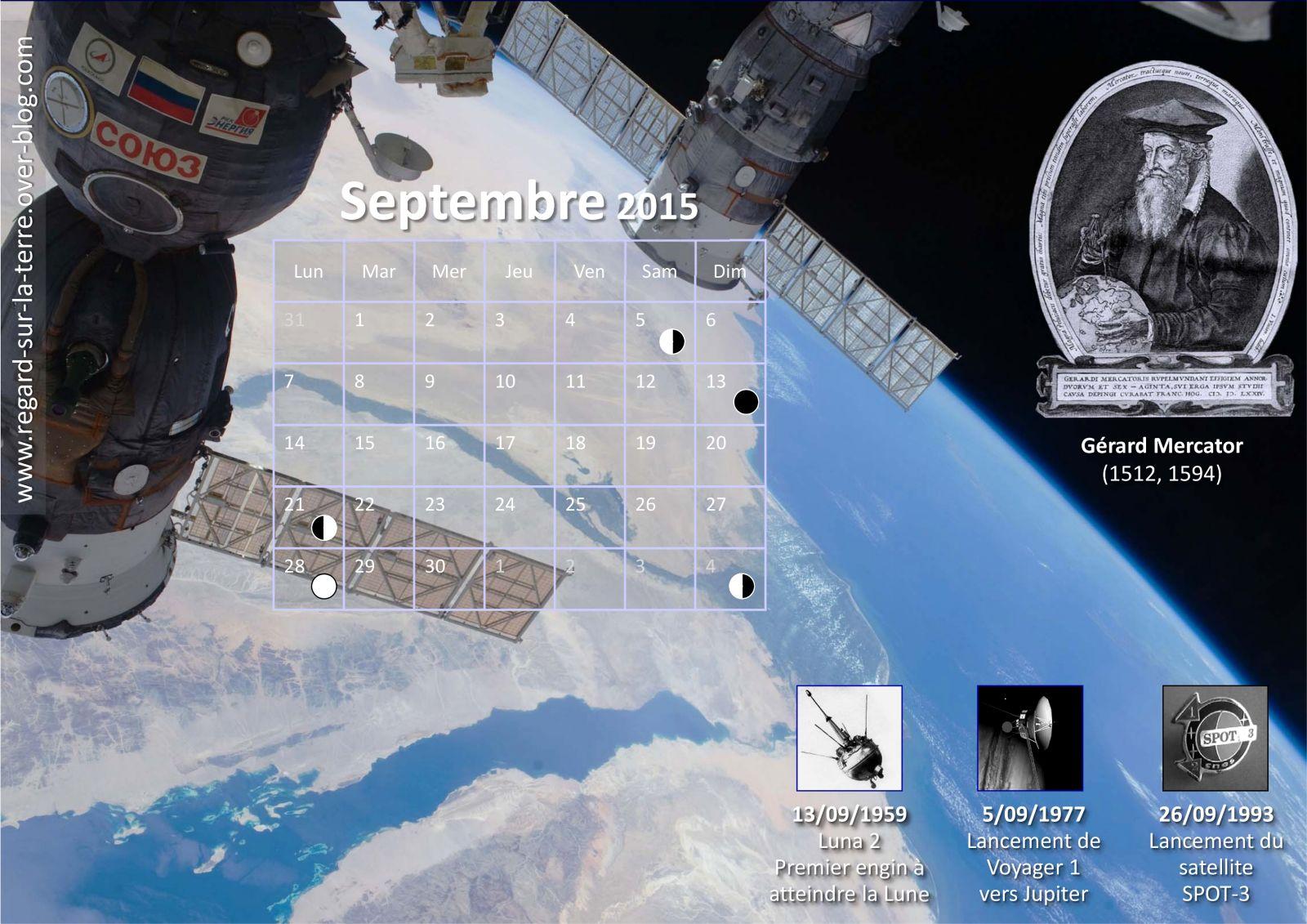 Calendrier spatiale et astronomique - anniversaires et premières - conquête spatiale - Calendrier des lancements - Septembre 2015