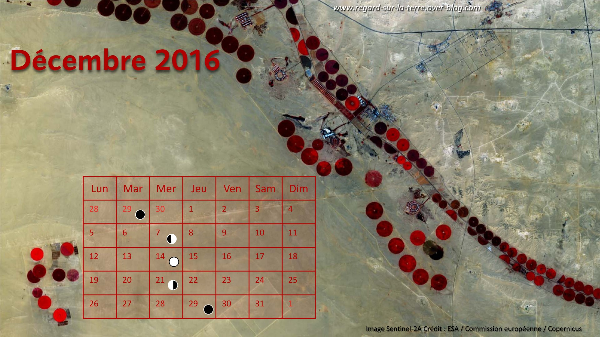 Calendrier spatial et astronomique - Décembre 2016 - Agriculture - Irrigation - Arabie Saoudite - Sentinel-2A - ESA - Copernicus - Commission européenne