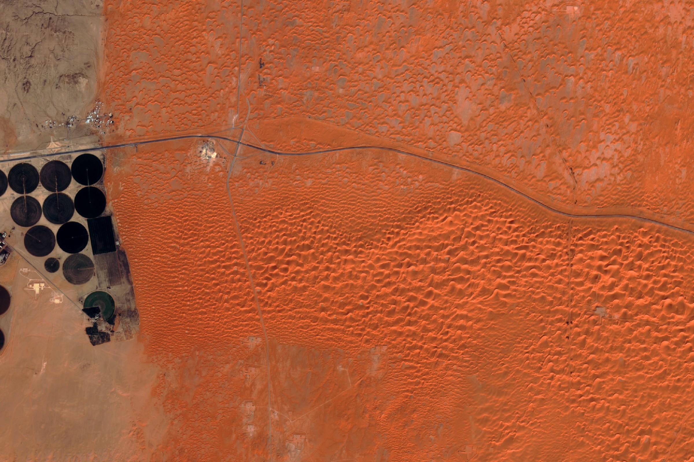Arabie Saoudite - Désert - Dunes - Agriculture - Irrigation - Sentinel-2A - satellite d'observation - ESA - Copernicus - Couleurs naturelles