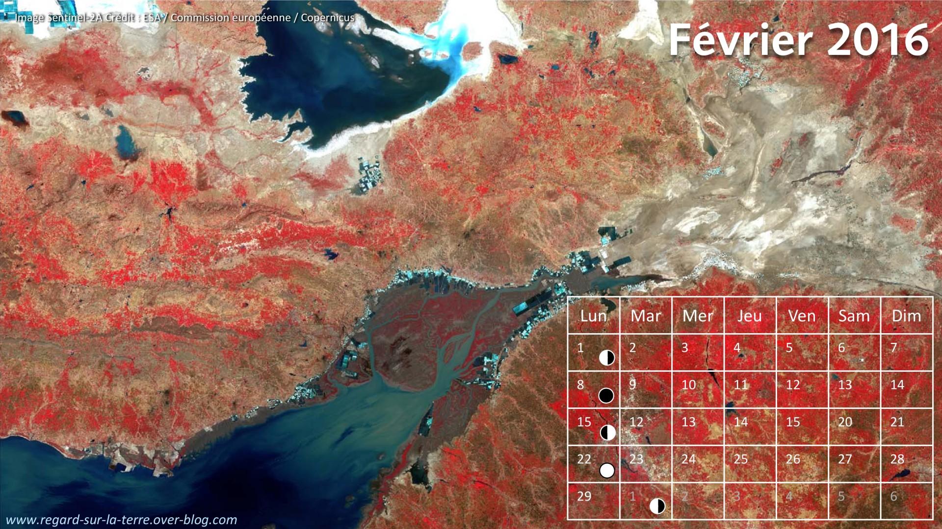 Calendrier spatial - Février 2016 - Sentinel-2 - Gole de Kutch - Rann de Kutch - Inde - Pakistan