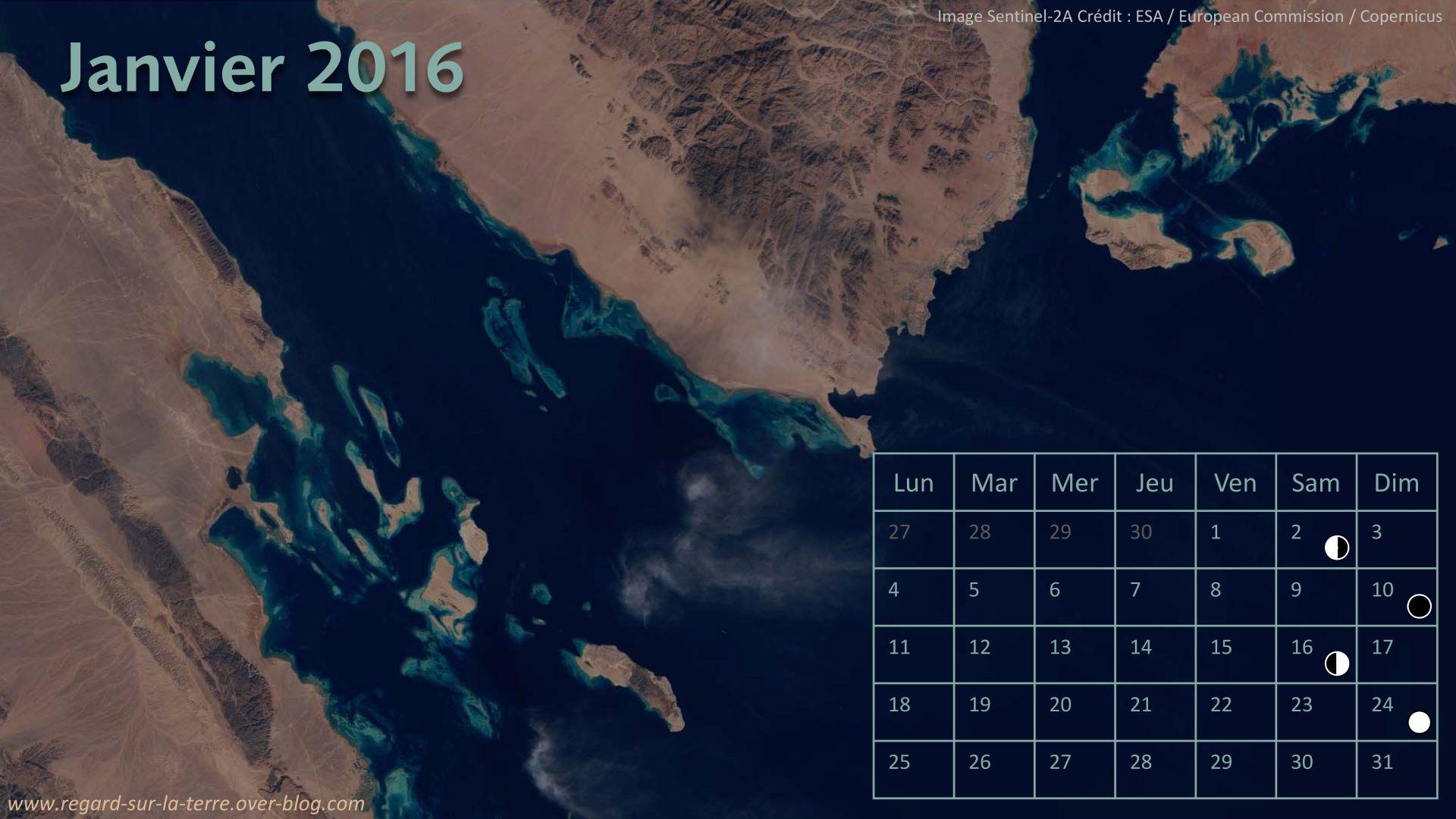Calendrier spatial - Janvier 2016 - Mer rouge - Sentinel-2 - Drames et accidents dans l'espace - Columbia - Challenger - Apollo 1 - NASA - ESA - Soyouz