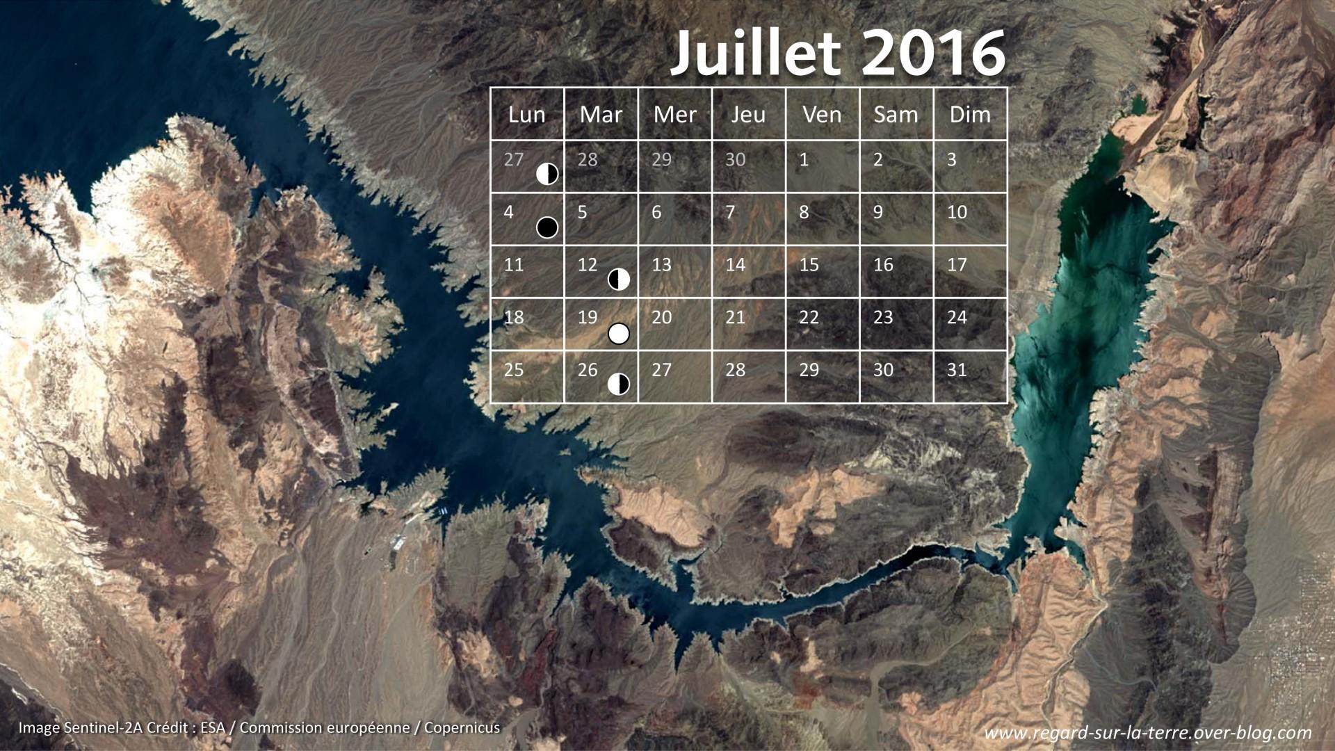 Calendrier spatial - Juillet 2016 - Lac Mead - Las Vegas - Sentinel-2 - Copernicus - ESA - Commission européenne