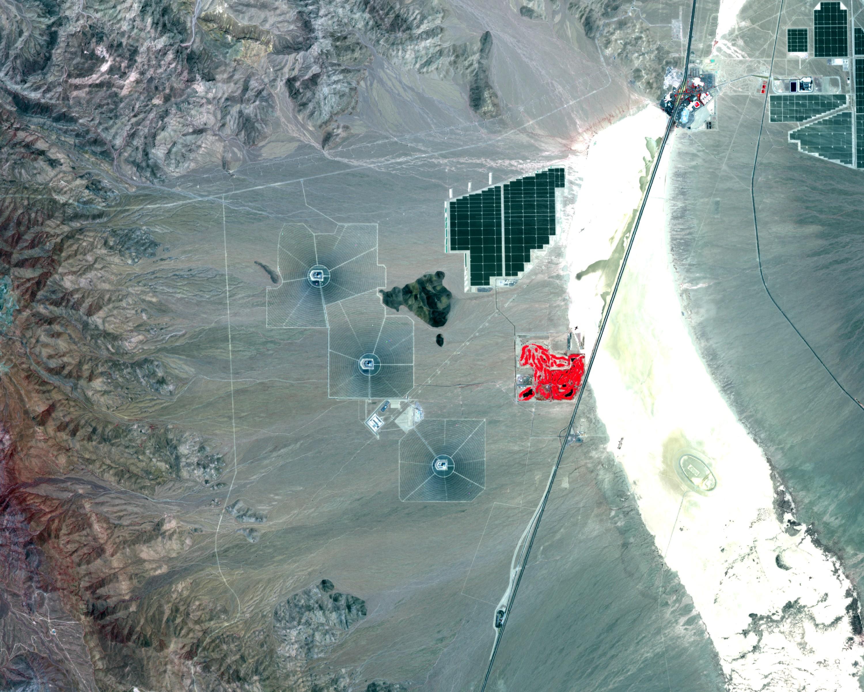 Californie - Centrale solaire Ivanpah - l'Ivanpah Solar Electric Generating System - Sentinel-2A - Sentinel - ESA - Copernicus - Commission européenne - Juillet 2016