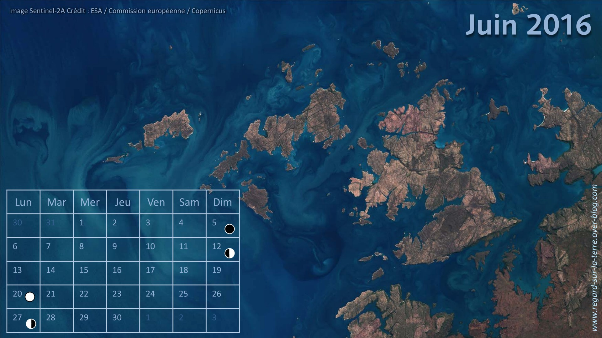Calendrier spatial - Juin 2016 - Sentinel-2 - ESA - Copernicus - Australie - Kimberley - Derby - Prince Regent Reserve - UNESCO