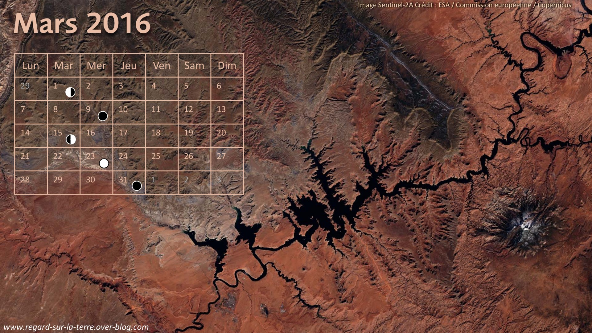 Calendrier Spatial - Mars 2016 - Colorado - Lac Powell - Grand Canyon - Sentinel-2 - satellite - ESA - Copernicus