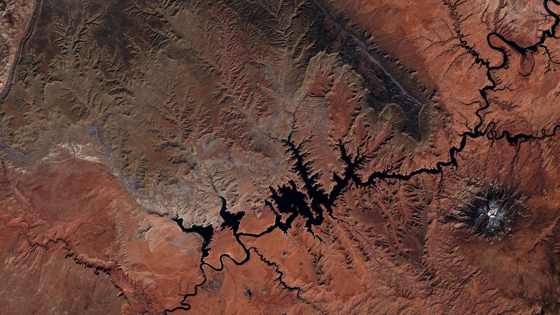 Sentinel 2 - Colorado - Lac Powell - Barrage de Glen Canyon - Page - Navajo mountain - ESA - Copernicus - Mars 2016