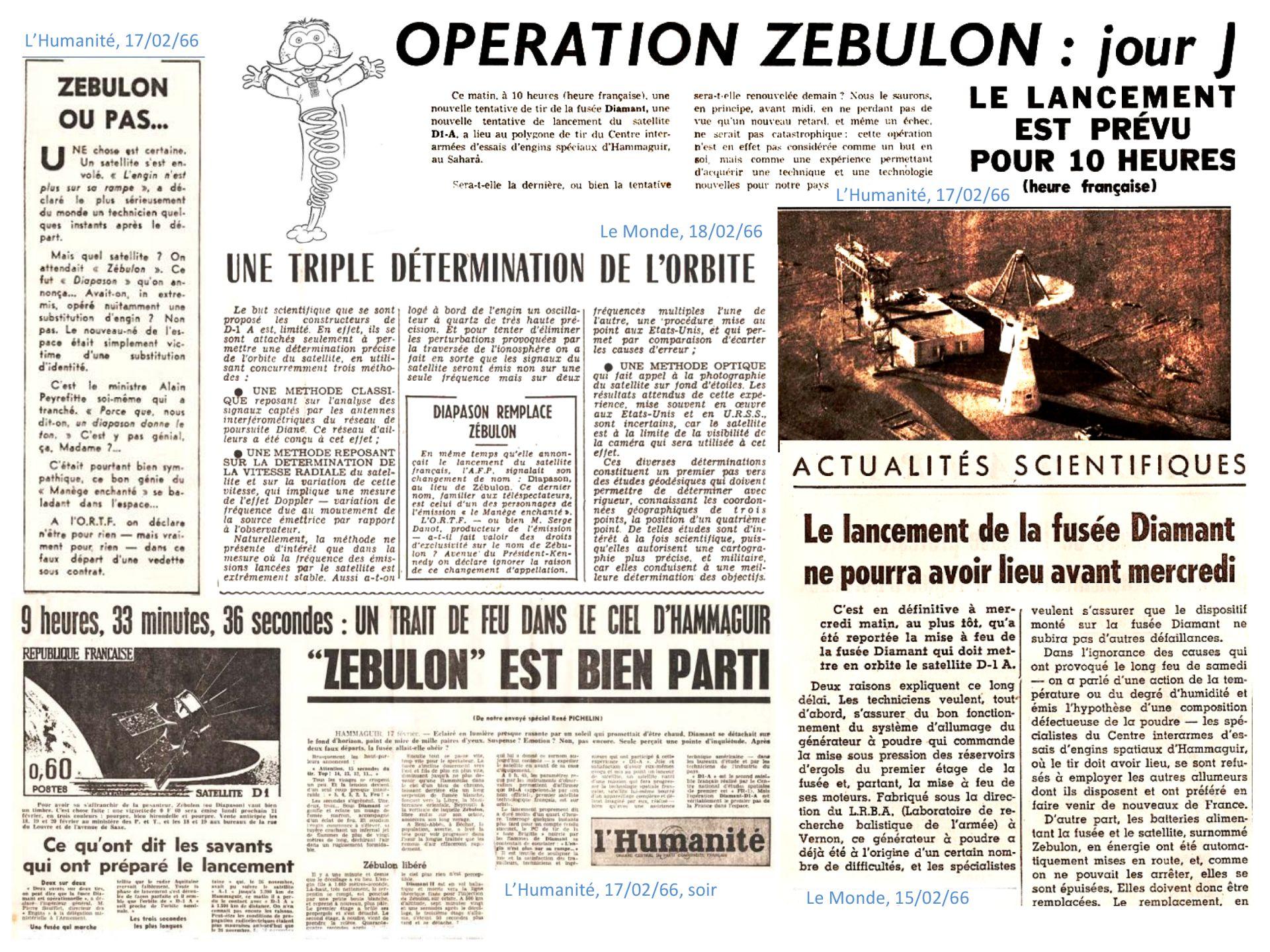 D1-A - Diapason - Zébulon - Manège Enchanté - CNES - Hammaguir - Revue de presse