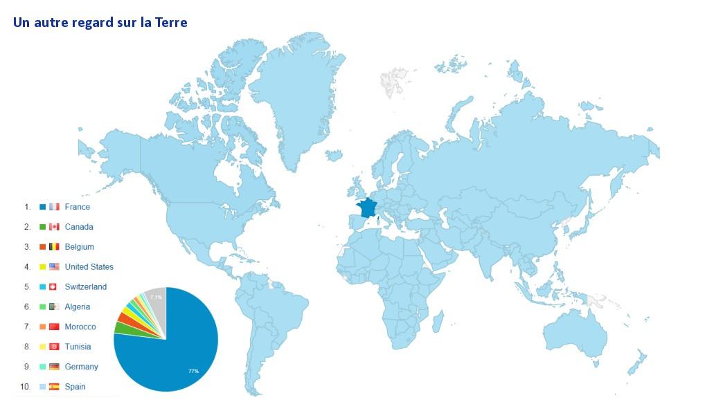 Un autre regard sur la Terre - Provenance des visiteurs - Blog francophone - sixième anniversaire