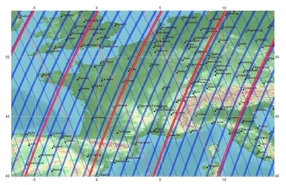 Take 5 - Spot 5 - Comparaison de l'orbite de SPOT avant et après la manoeuvre - Cycle de 26 jours - Cycle de 5 jours