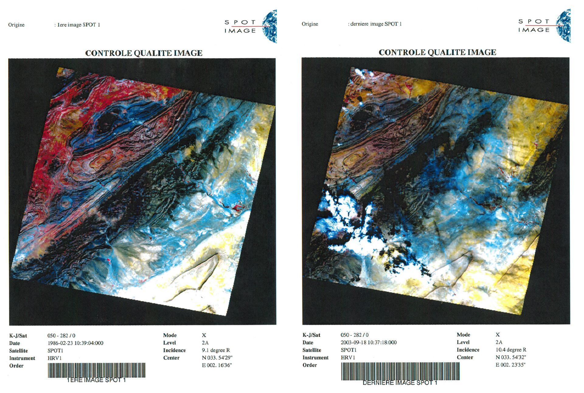 30 ans du satellite SPOT - Anniversaire - Première et dernière images - Djebel amour - Février 1986 - Septembre 2003 - CNES - Spot Image