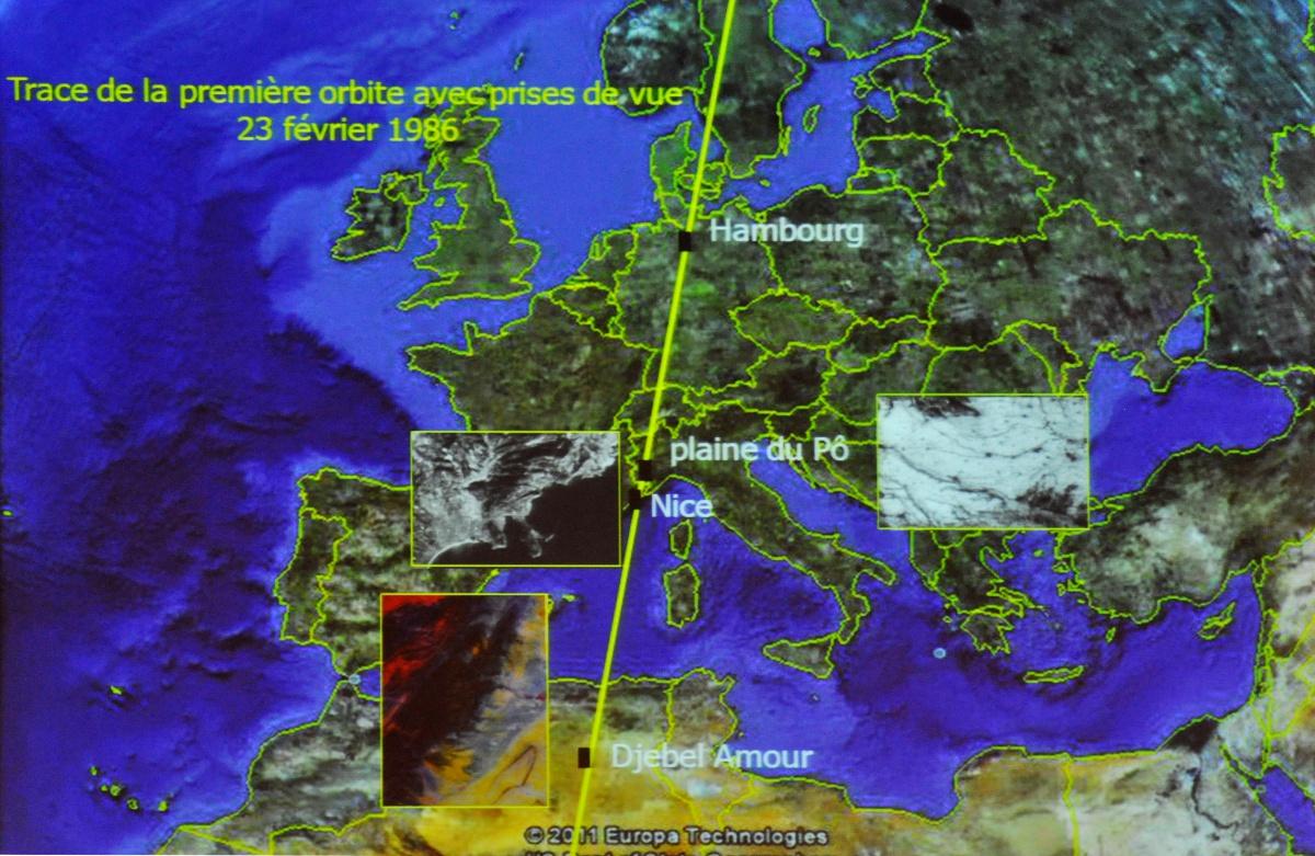 Trace au sol du satellite SPOT 1 - 23 février 1986 - Premières images - Hambourg - Plaine du Po -  Nice - Djebel Amour