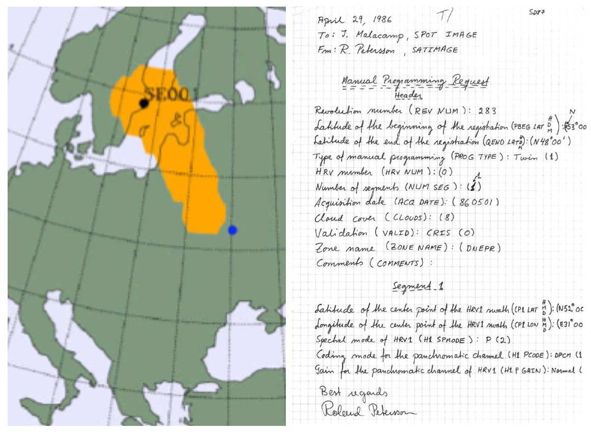 Tchernobyl - Chernobyl - 30 ans - 26 avril 1986 - Catastrophe nucléaire - Explosion réacteur n°4 - Première image du satellite SPOT - 29 avril 1986 - Demande programmation Suède - Satimage
