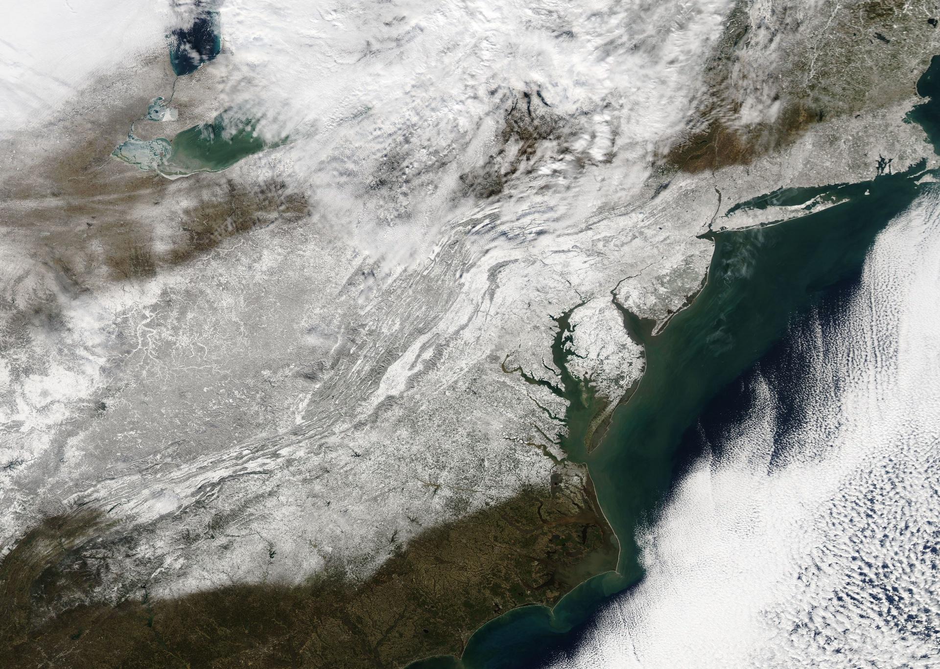 Tempête de neige - Jonas - Snowzilla - New York - Washington - côte est - Janvier 2016 - Aqua - MODIS - NASA