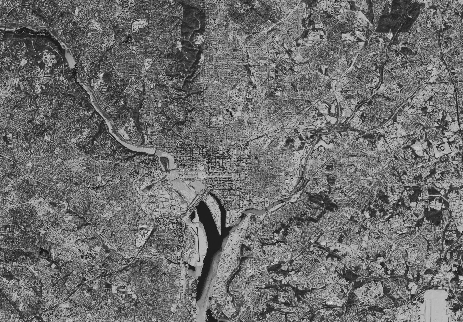 Landsat 8 - OLI - Washington - Chutes de neige - Snowzilla - Jonas - 24 janvier 2016 - Panchromatique - USGS