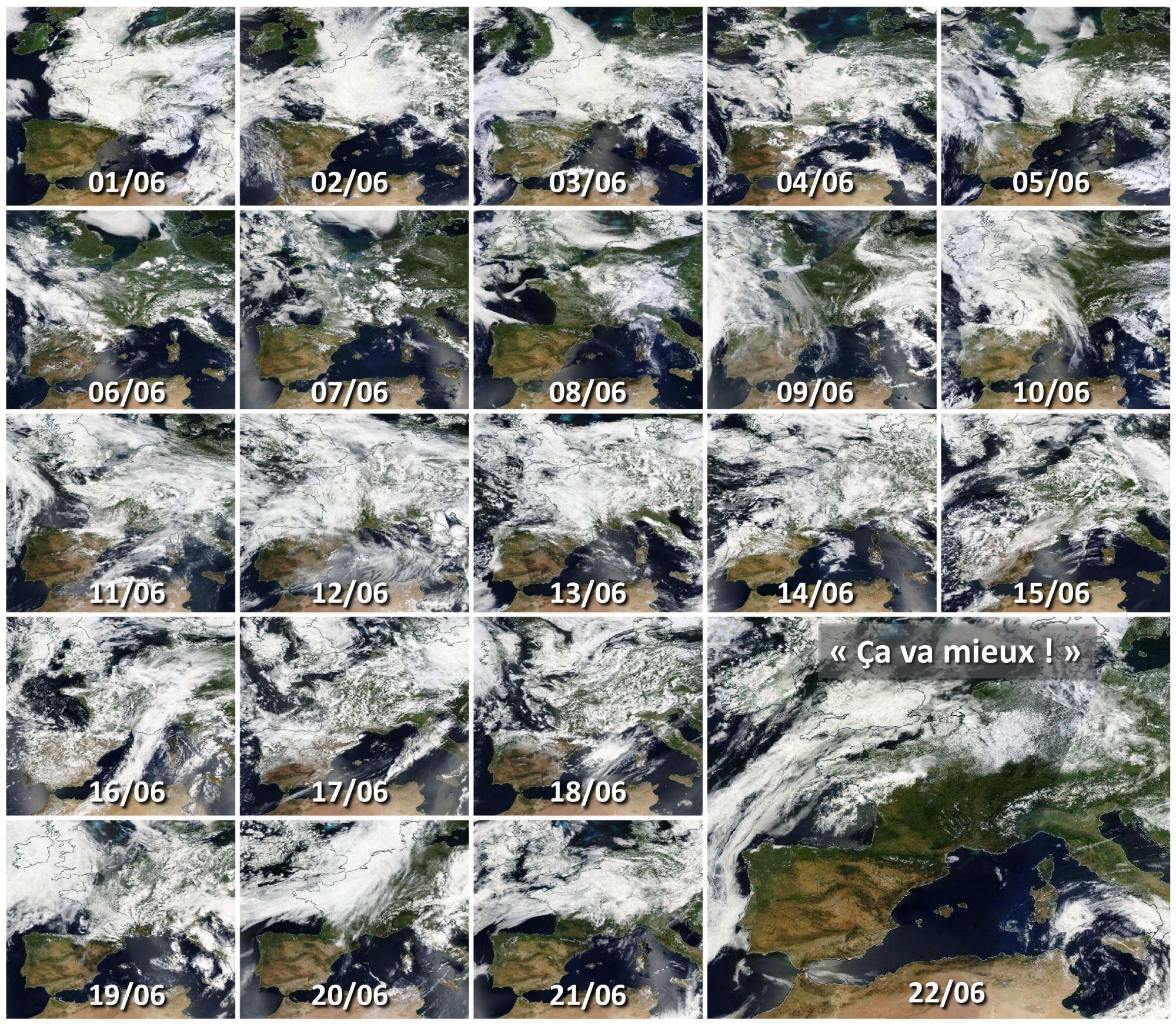 Juin 2016 - France - Couverture nuageuse - Pluies - Inondation - temps maussade - Bilan du mois de juin - Aqua - Terra - Suomi NPP - été pourri - Où est le soleil - ça va mieux