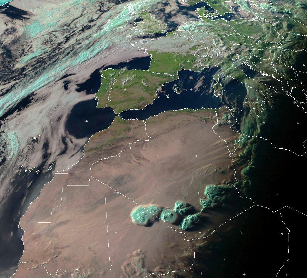 Meteosat - jour de l'été - 21 juin 2016 - Nuages - Algérie - Mali - Sahara - Meteosat - Eumetsat