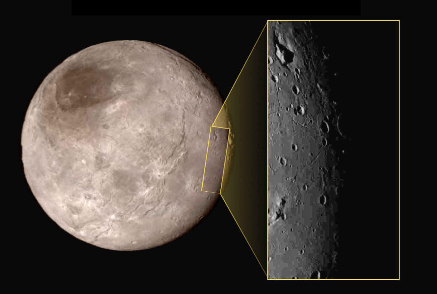 New Horizons - Charon - Cratères et pics - LORRI - 14-07-2015 - NASA - Annonec NASA TV briefing - Science findings - Johns Hopkins University Applied Physics Laboratory - Southwest Research Institute