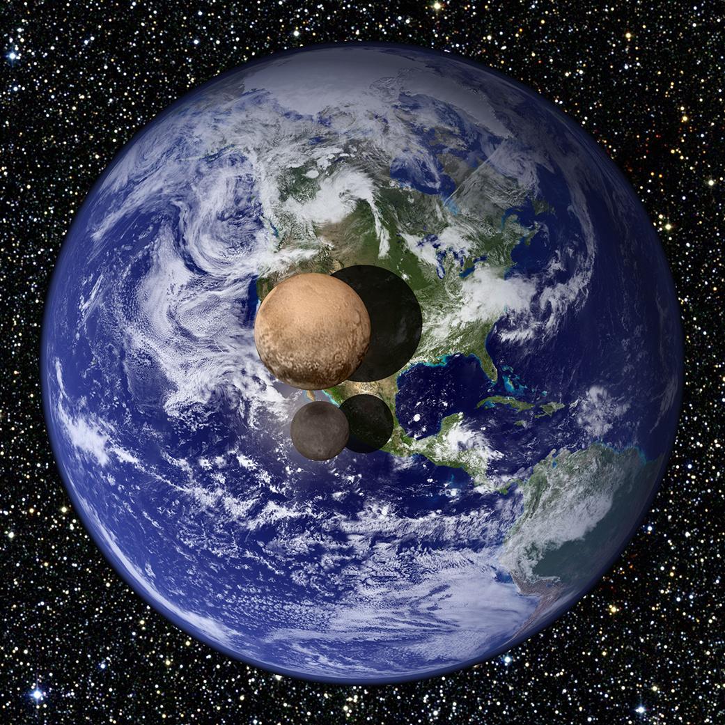 Pluton - Charon - Taille - diamètre - comparaison Terre - New Horizons - NASA - échelle - planète