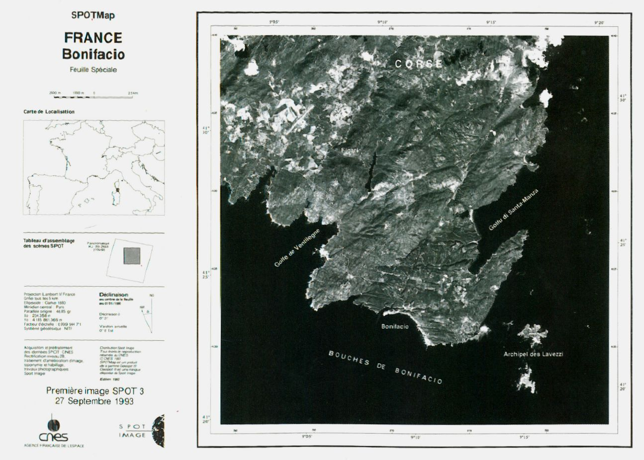 SPOT 3 - Première image - Corse - Bonifacio - Satellite - îles Lavezzi - 27 septembre 1993 - CNES - Spot image - SpotMap
