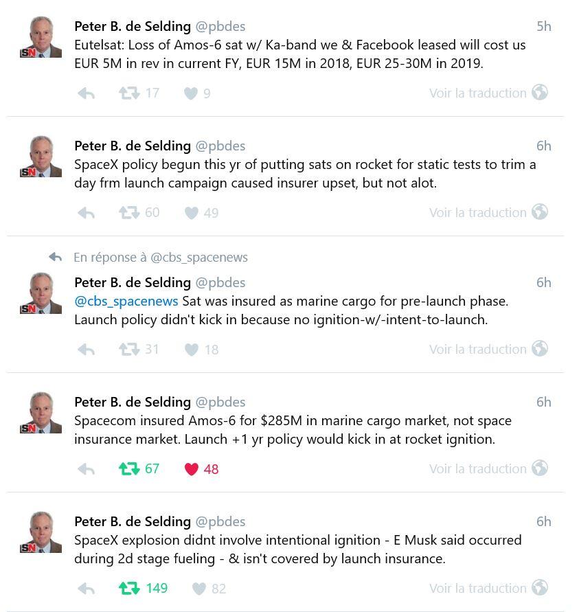 Tweet - Peter de Selding - Spacenews - Falcon 9 - perte AMOS-6 - Spacecom - explosion - assurance - cargo