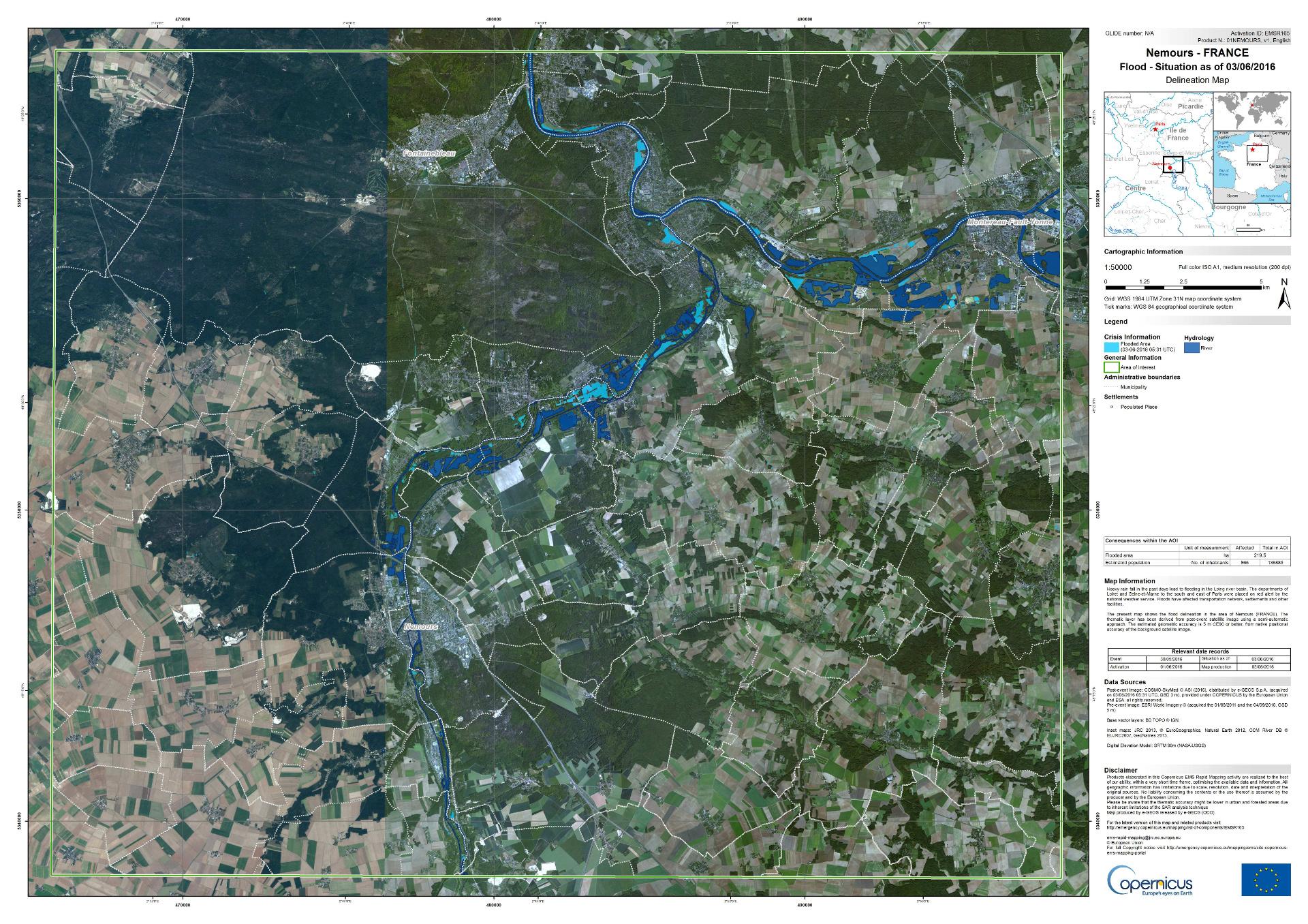 Nemours - Inondations - Juin 2016 - Copernicus Emergency Mapping - Cosmo-Skymed - radar - carte de situation - Commission européenne