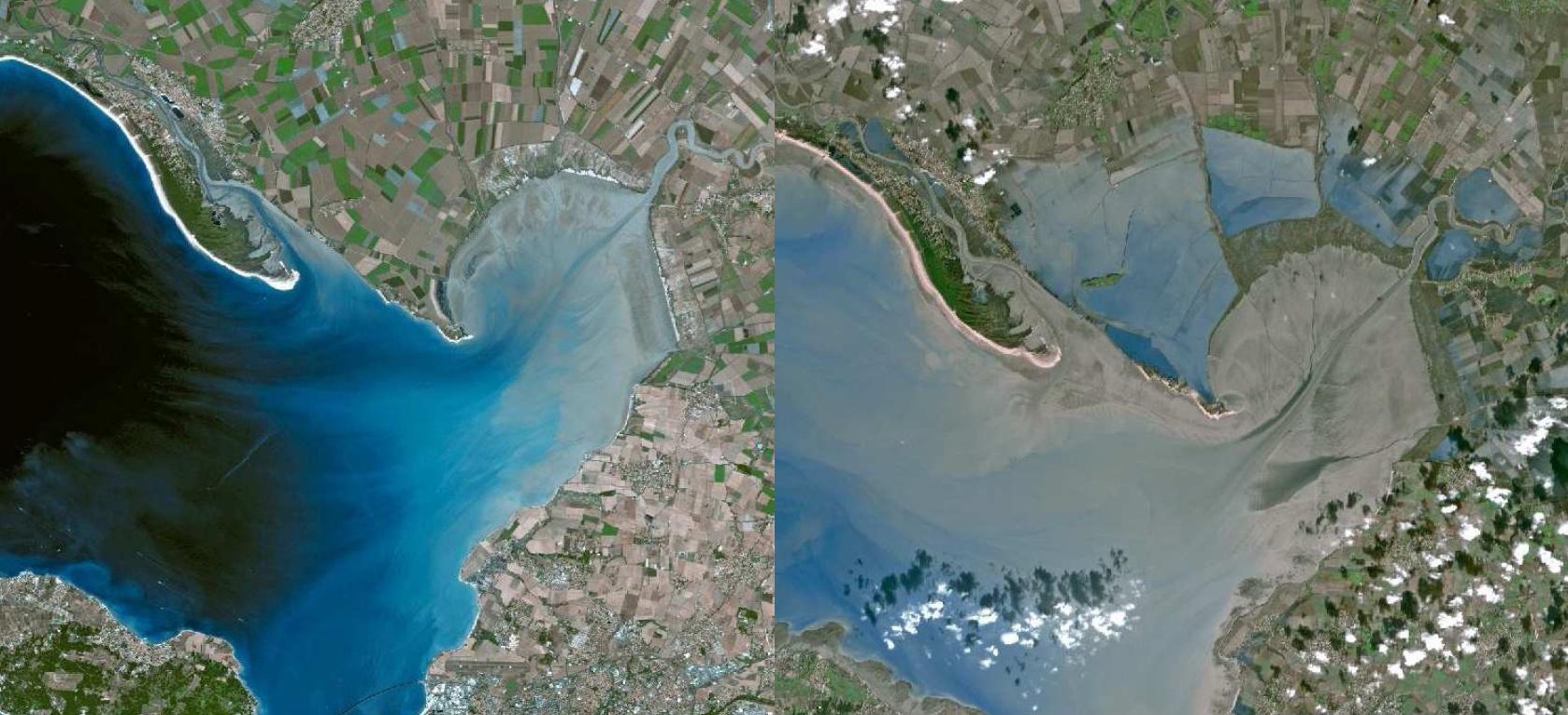Tempête Xynthia - Anse de l'Aiguillon - La Tranche - Images satellite - SPOT 4 - Avant -Après- GMES - Copernicus - Février 2010