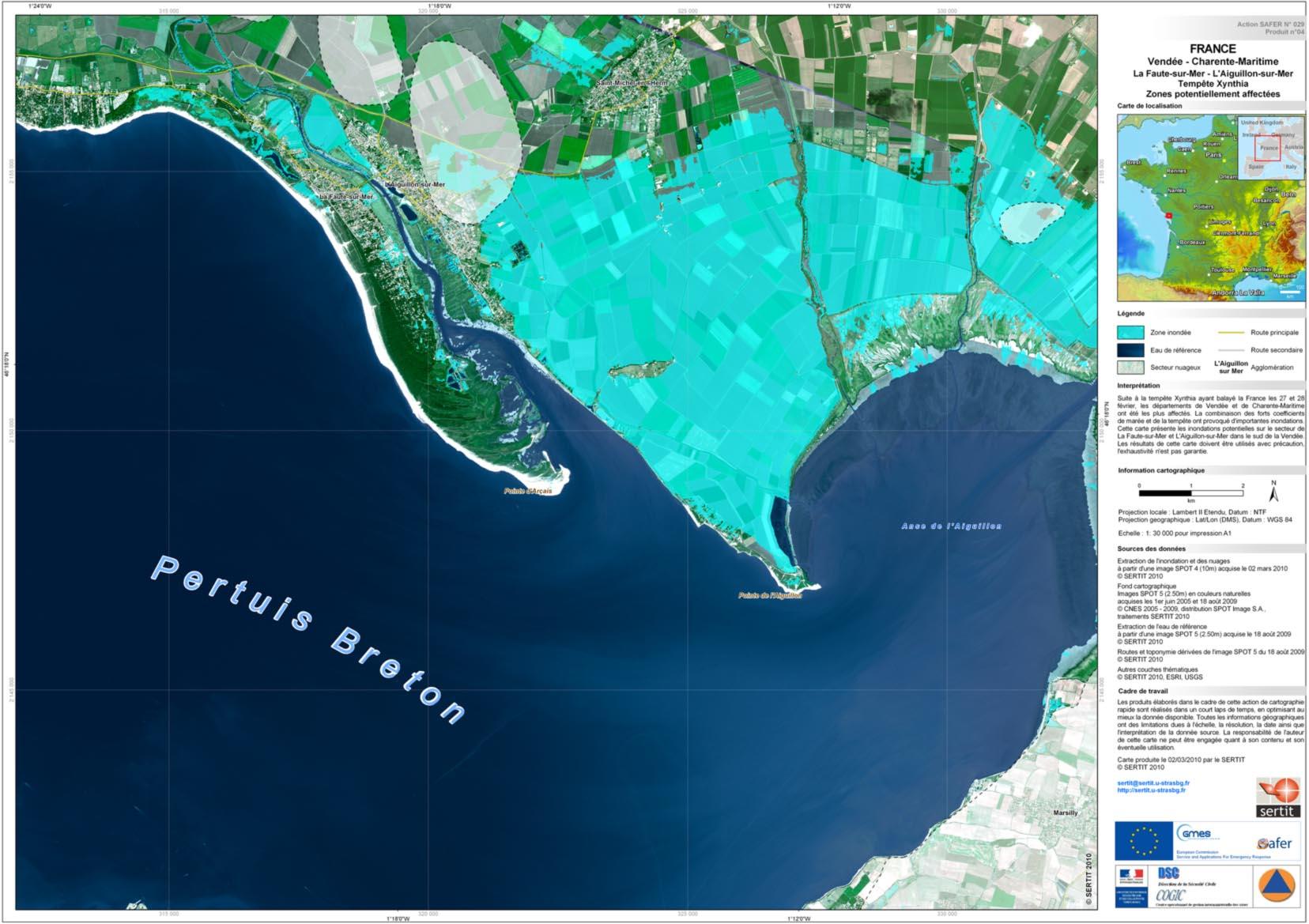 Tempête Xynthia - Anse de l'Aiguillon - La Tranche - carte des inondations - SERTIT - SAFER - Février 2010