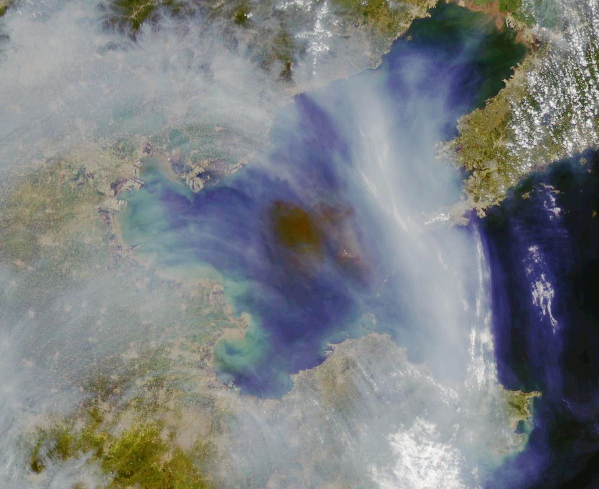 Tianjin - Explosion - Nuage - Cloud - Satellite image - GOCI - COMS-1 -13 août 2015 - 3:16:48 UTC-  Korea Ocean Satellite Center