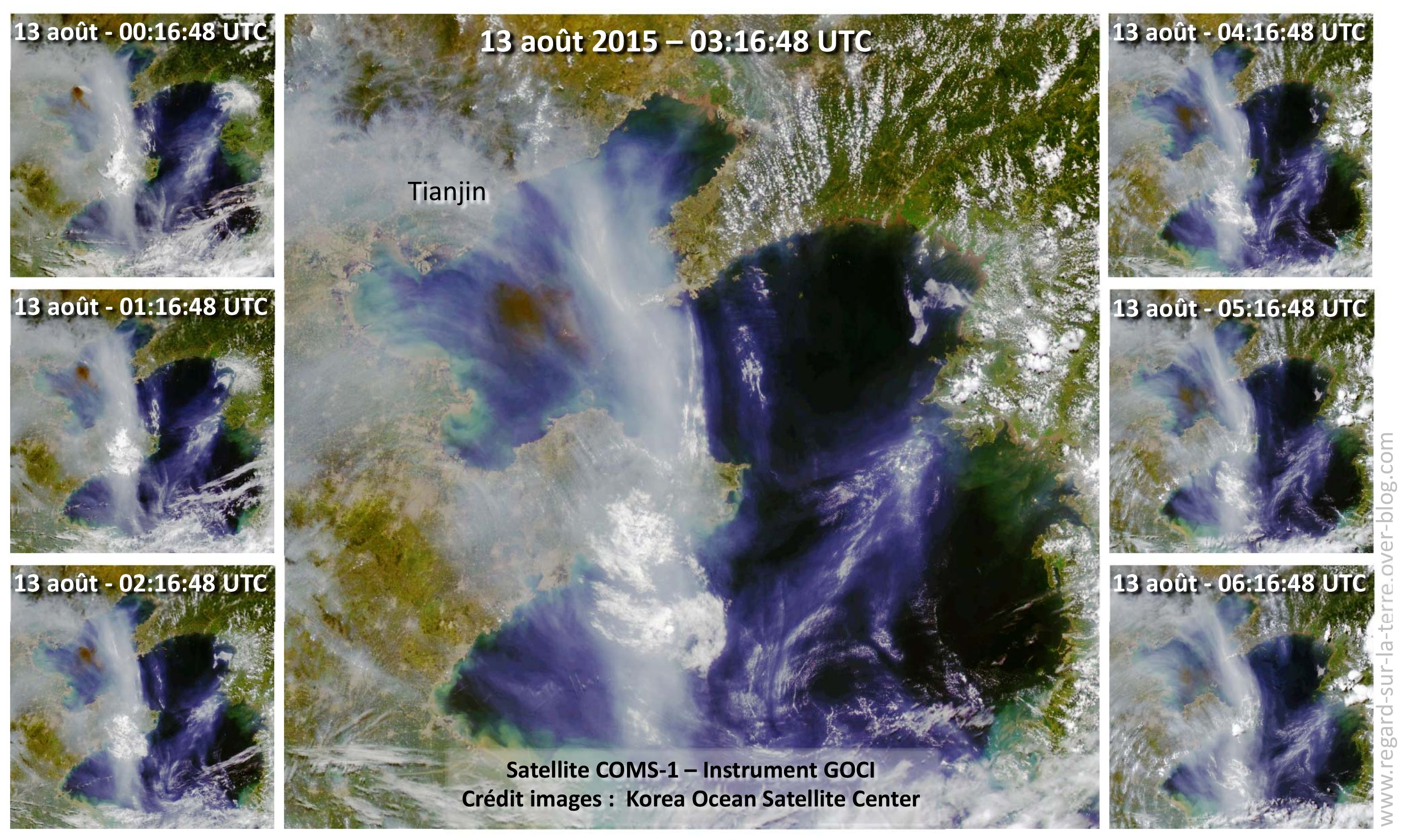 Explosion - Tianjin - Chine - Séquence d'images - Satellite COM-1 - Instrument GOCI - Propagation nuage de fumée noire - 7 images acquises le 13 août 2015 entre 00:16:48 et 06:16:48 UTC. Korea Ocean Satellite Center (KOSC).