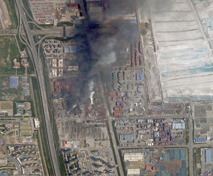 Tianjin - Explosion - Dégats - Image satellite - Damage - Fire - Sybox Imaging - Skysat - Imagerie rapide - Août 2015
