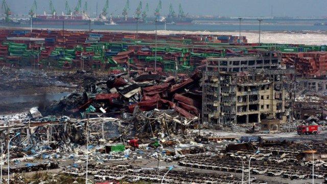 Explosion de Tianjin - Dégats - Comparaison avec la catastrophe de l'AZF à Toulouse - AFP