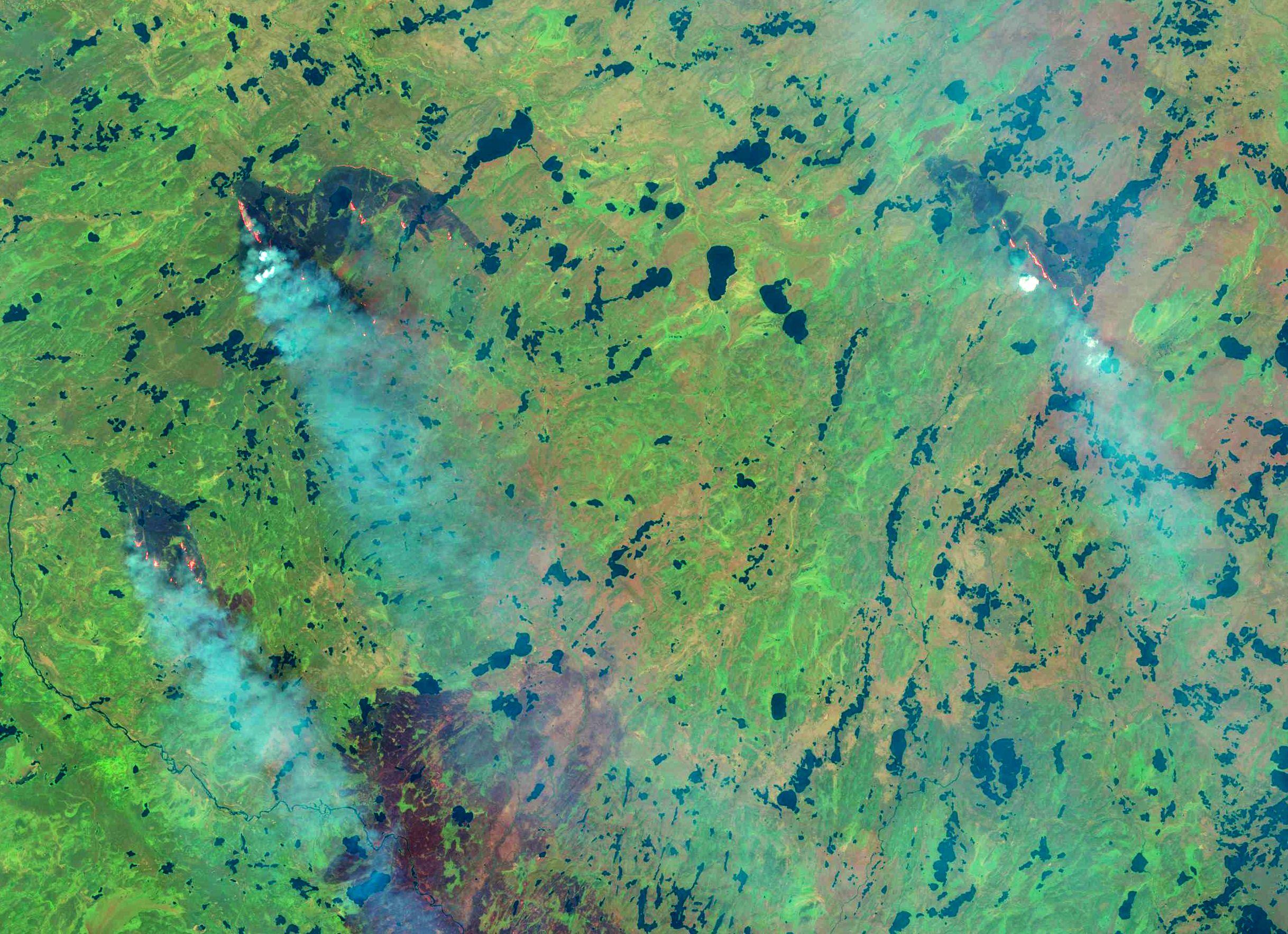 Incendies - Feux - Fire - Canada - Alberta - Saskatchewan- Landsat 8 - OLI - satellites - 29 Juin 2015 - USGS