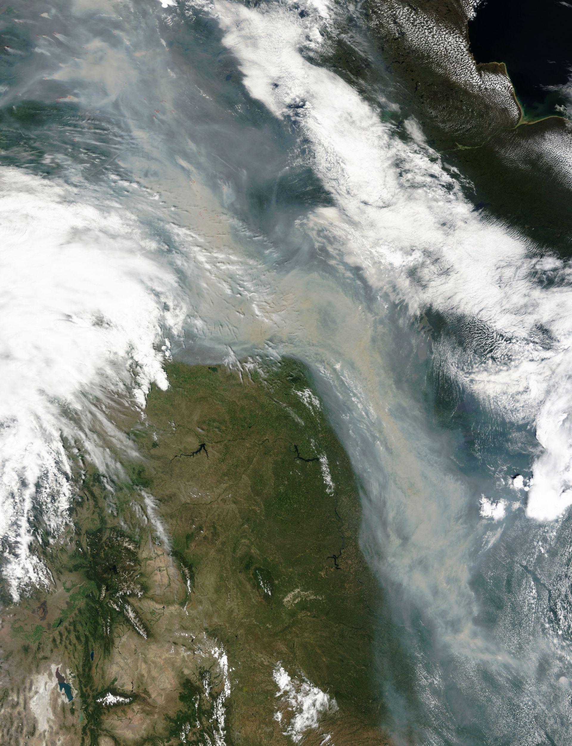 Incendie - Canada - Nuage de fumée au dessus des USA - Satellite - Terra - MODIS - Wild fires