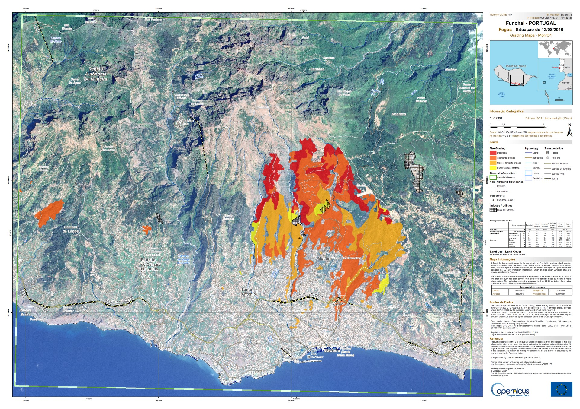 Copernicus - Emergency Mapping Service - EMS - Union Européenne - Grading map - cartographie rapide - Madeira - Madère - Funchal - Pléiades - SPOT 6 - GMES - Wild fires - activation - EU Civil protection