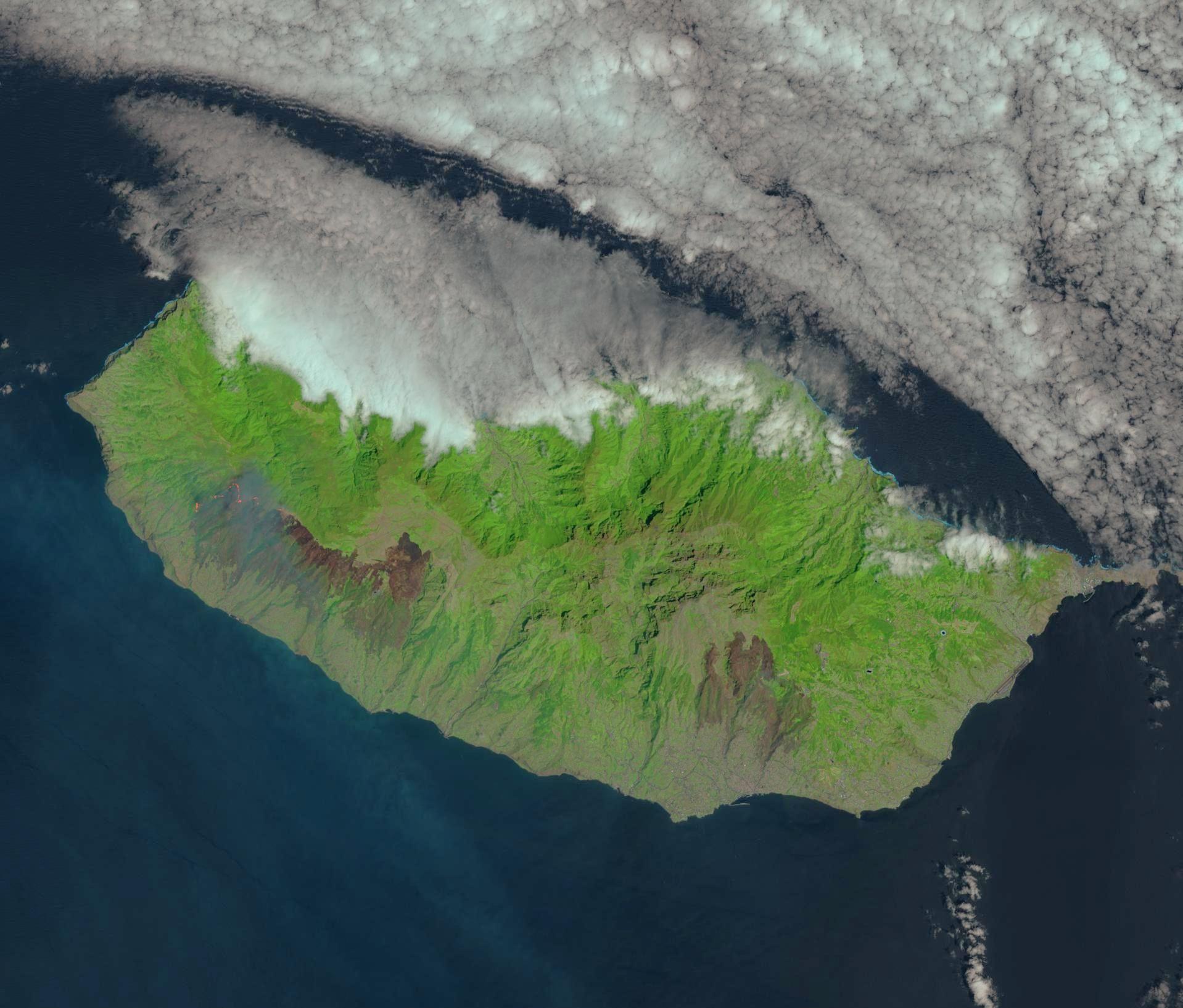Incendies - île de Madère - Août 2016 - Madeira - Funchal - satellite - Landsat 8 - OLI - USGS
