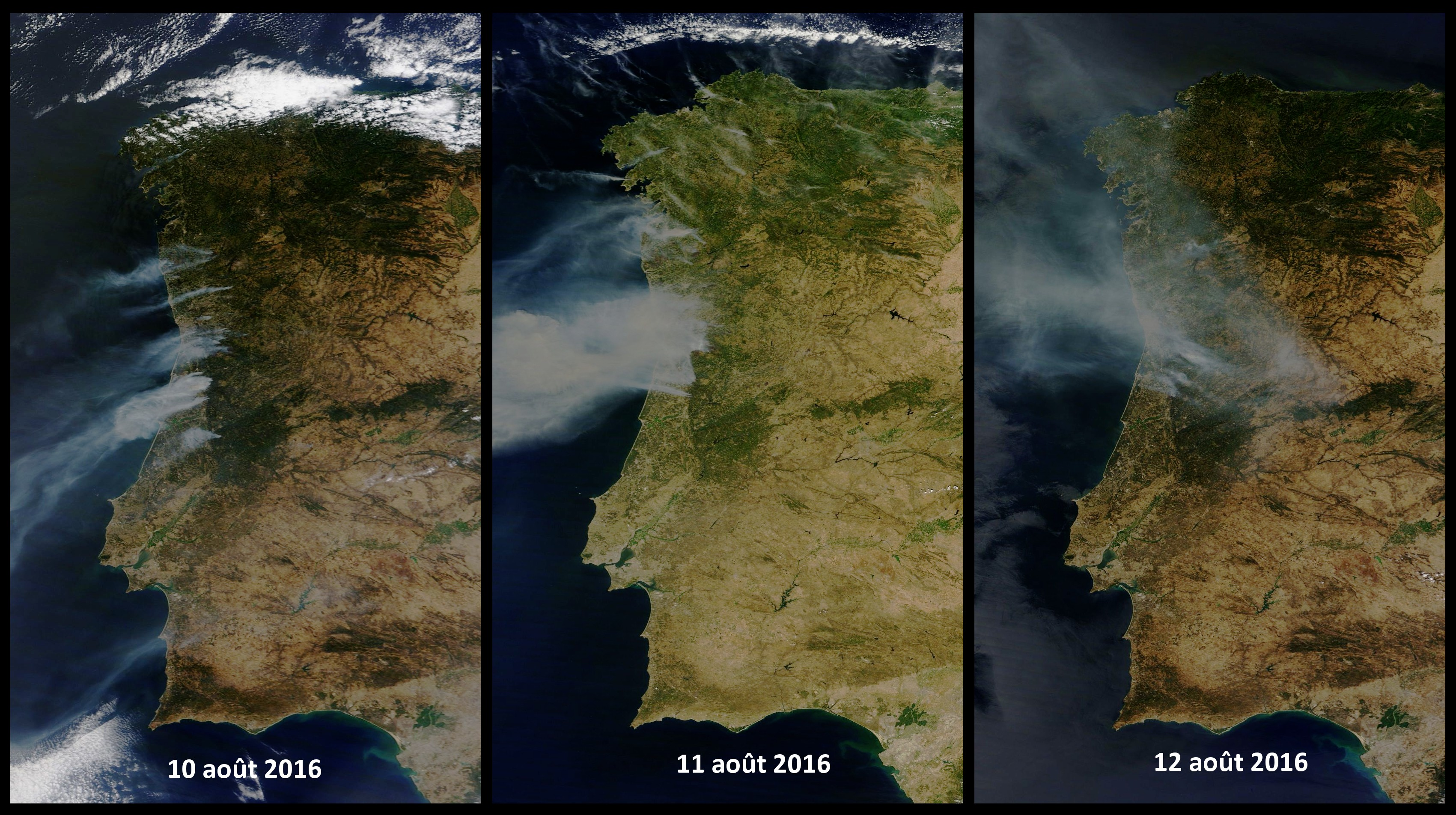 Incendies - Portugal - Août 2016 - EU Civil protection mechanism - Terra - MODIS - satellite d'observation - Fumée - Fire - Smoke - NASA - Worldview