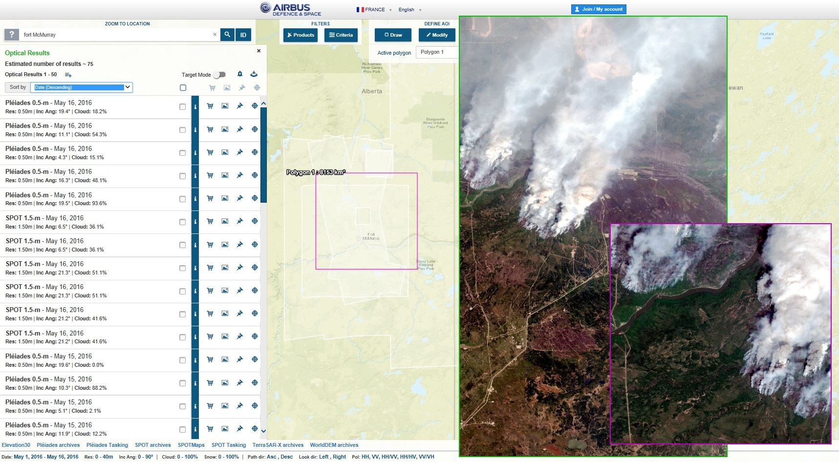 Fort McMurray - Feux - Wildfires - Satellites Pléiades et SPOT - Consultation Geostore - Revisite - Plus d'une image par jour de chaque point du globe - Airbus DS