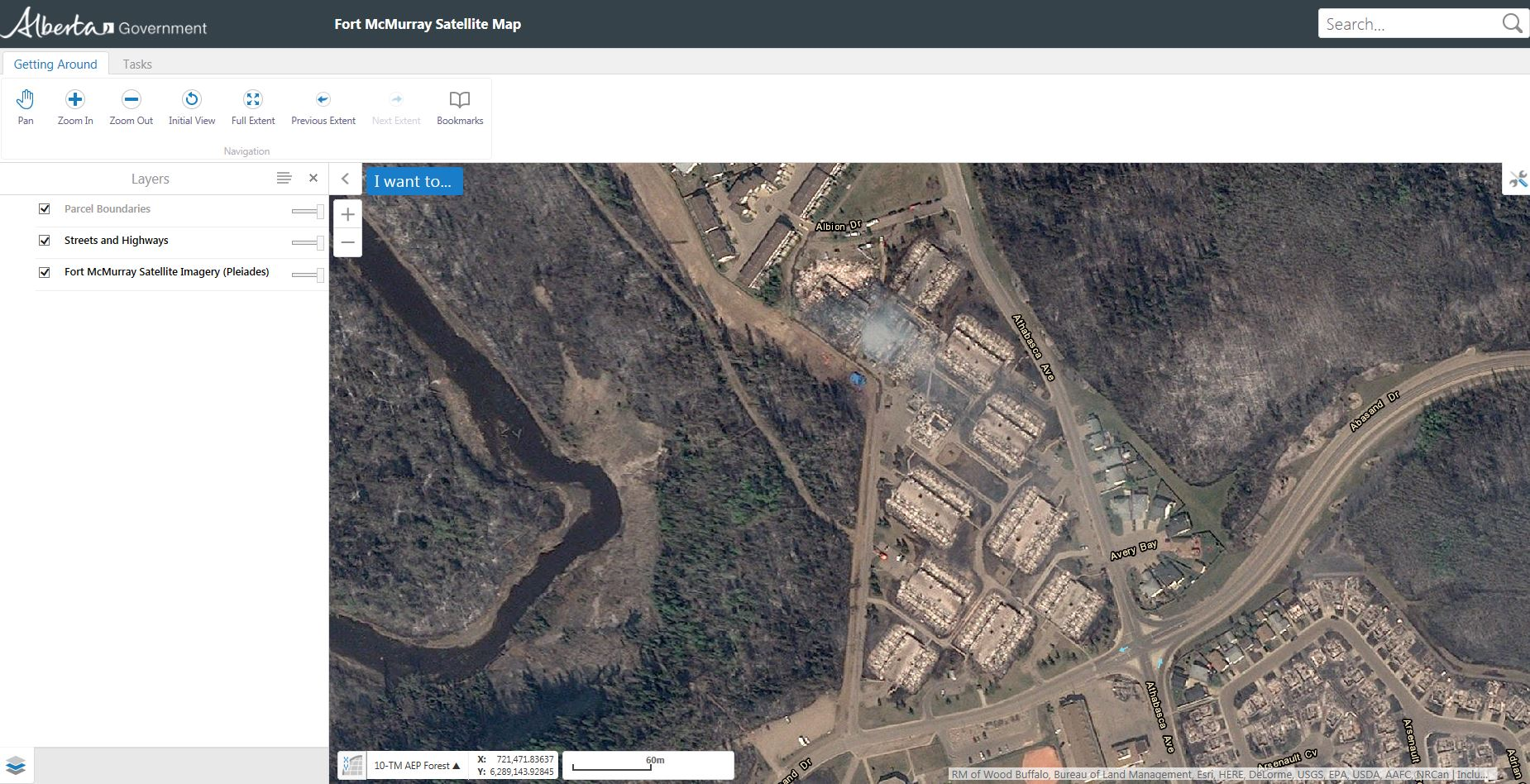 Fort Mc Murray - Government Alberta - Wild fires - GIS application - satellite Pleiades - SIG - Burnt areas - Dommages - Zones brulées