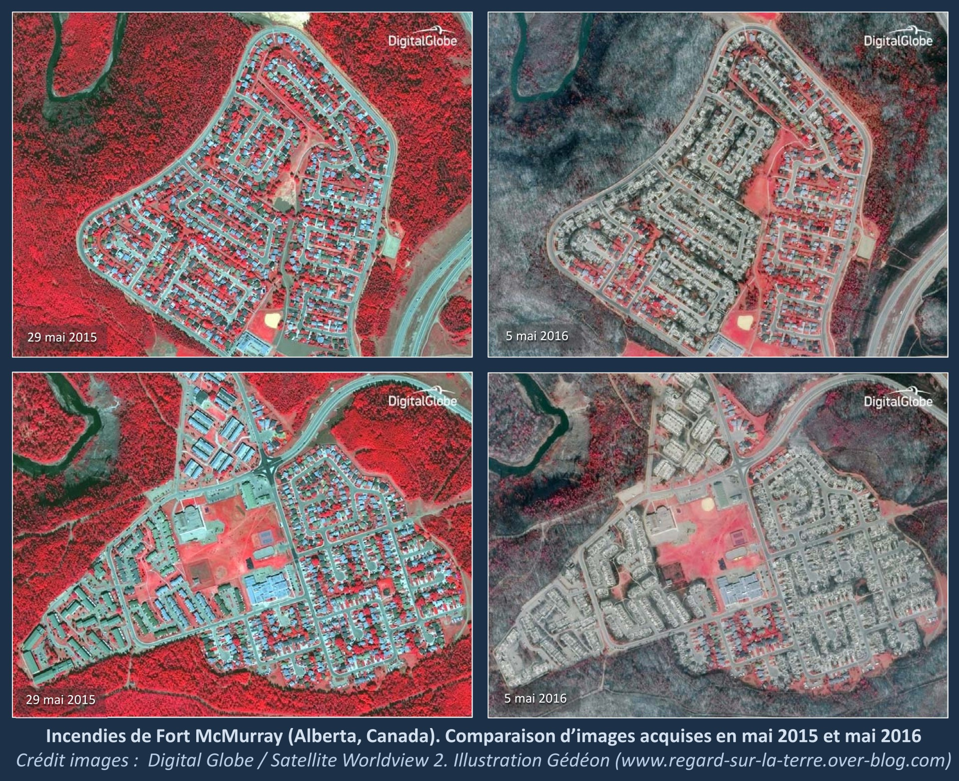 Fort McMurray - Alberta - Incendies - Before - After - Avant - Après - Digital Globe - WorldView-2 - Satellite