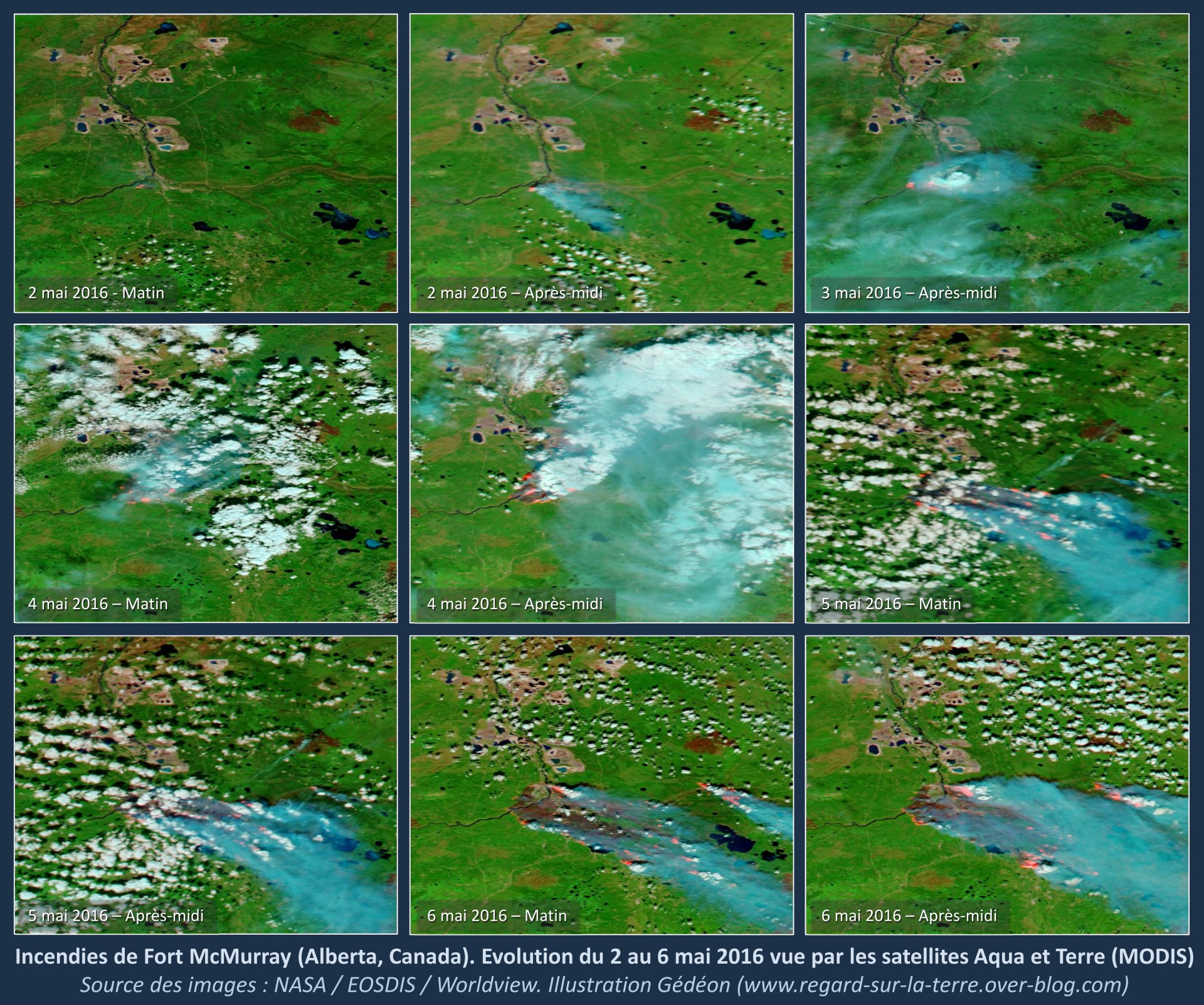 Fort Mc Murray - Alberta - Canada - Incendie - Wild fires - Instrument MODIS - Aqua et Terra - Série d'images aquises entre le 2 et le 6 mai