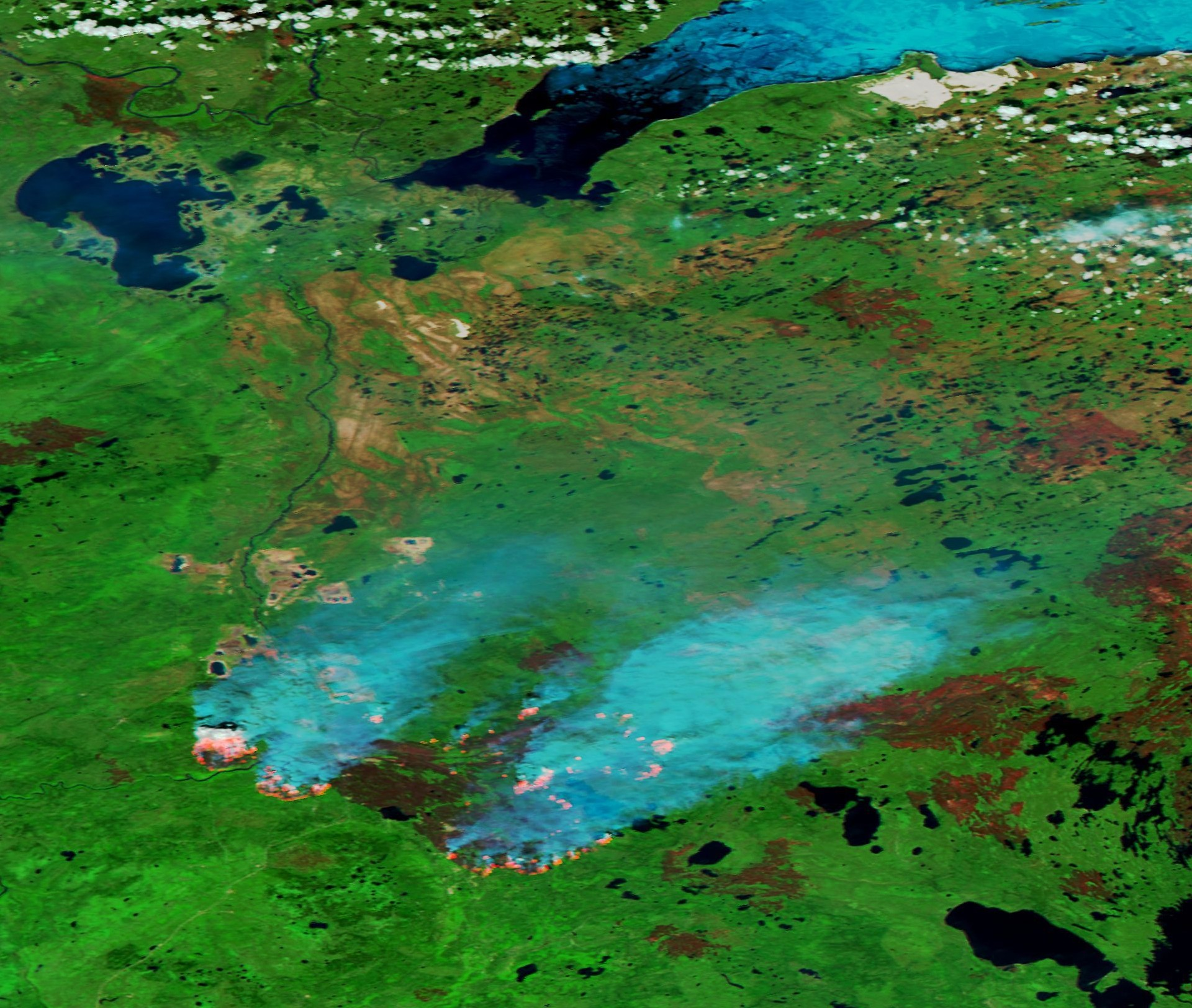 Fort McMurray - SUOMI NPP - VIIRS - 1- mai 2016 - Wild fires - Feux - Alberta - Satellite d'observation