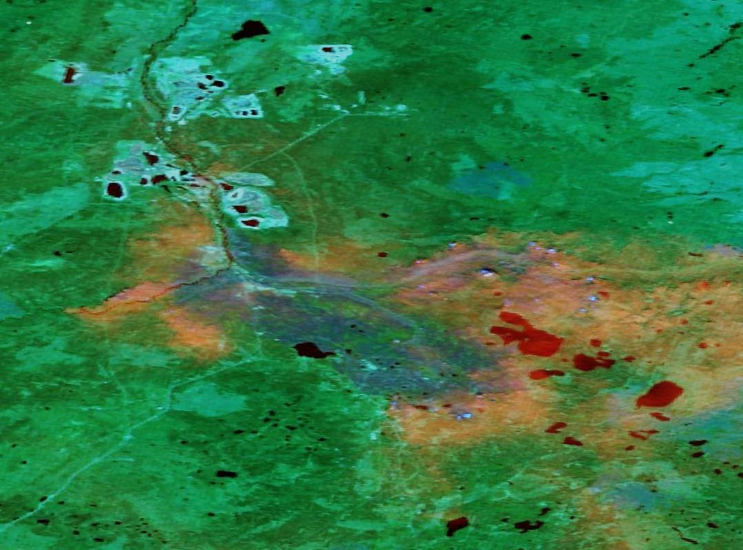 Fort Mc Murray - Alberta - Canada - Feux - Incendies - Wild Fires - satellite - Terra - MODIS - 15 mai 2016 - Composition colorée 367