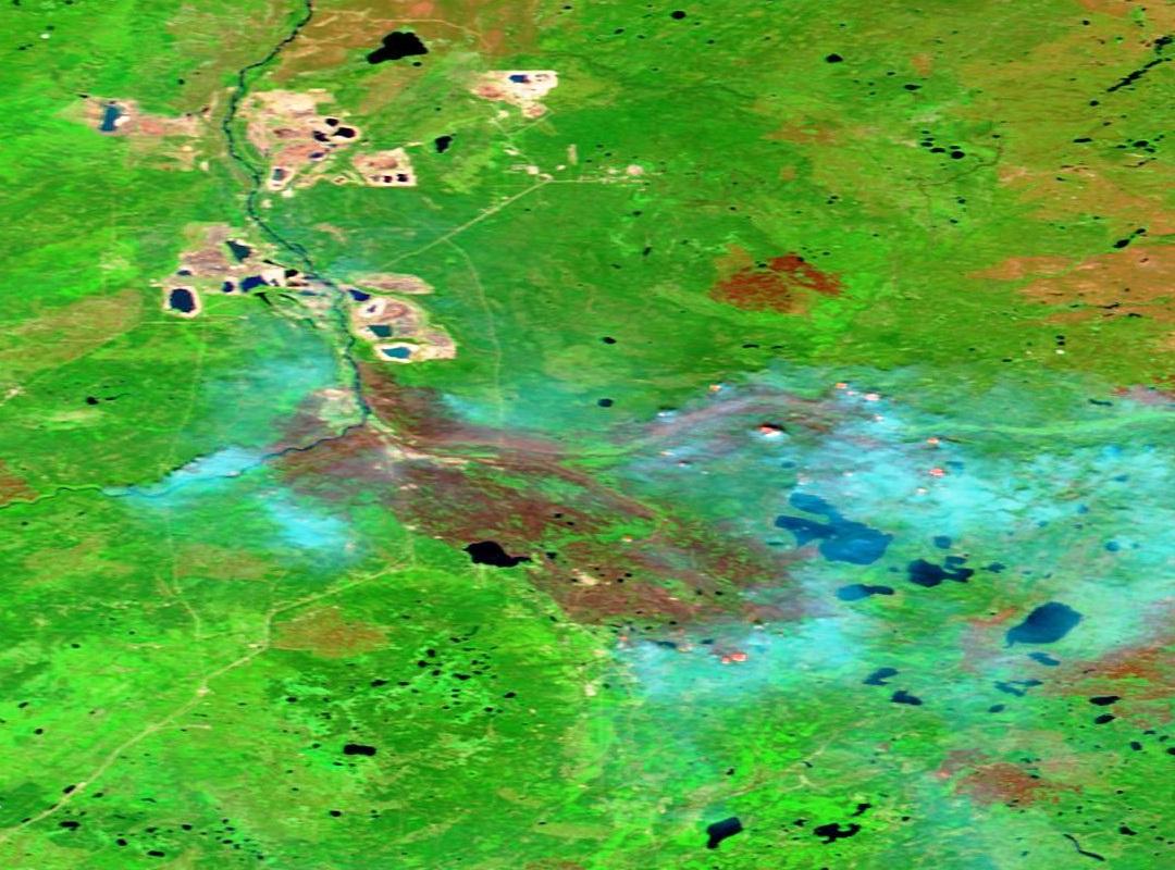 Fort Mc Murray - Alberta - Canada - Feux - Incendies - Wild Fires - satellite - Terra - MODIS - 15 mai 2016 - composition colorée 721 - SWIR - NIR